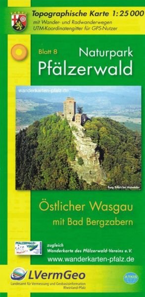 Naturpark Pfälzerwald NP8: östl. Wasgau - Bad Bergzabern Wanderkarte 1:25.000