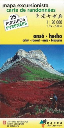 Rando Blatt 25, Ansó-Hecho, Wanderkarte Pyrenäen 1:50.000