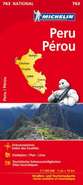 Michelin 763 Peru mit Stadtplan Lima und touristischen Hinweisen; 1:1,5 Mio.