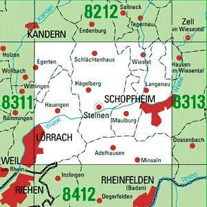 8312 SCHOPFHEIM topographische Karte 1:25.000 Baden-Württemberg, TK25