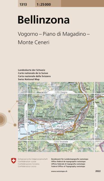 1313 Bellinzona topographische Wanderkarte Schweiz 1:25.000