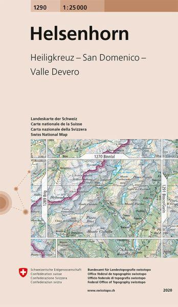 1290 Helsenhorn topographische Wanderkarte Schweiz 1:25.000