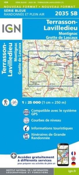 IGN 2035 Terrasson-Lavilledieu, Frankreich Wanderkarte 1:25.000