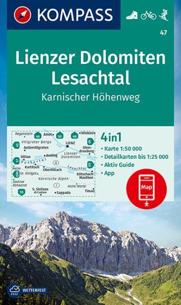 Kompass Karte 47, Lienzer Dolomiten 1:50.000, Wandern, Rad fahren