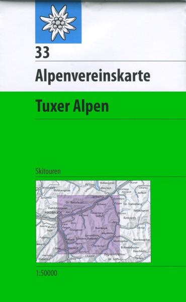 DAV Alpenvereinskarte 33 Tuxer Alpen, Skikarte 1:50.000