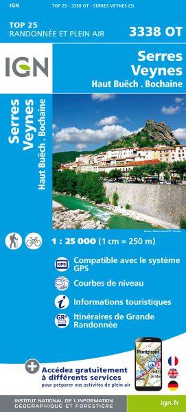 IGN 3338 OT Serres, Veynes, Haut Buech, Frankreich Wanderkarte 1:25.000