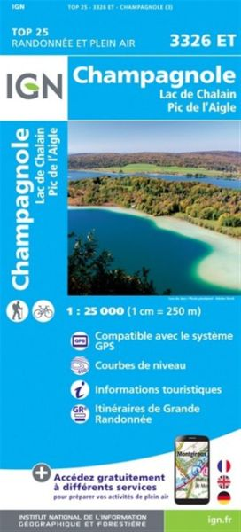 IGN 3326 ET Champagnole, Lac Chalain, Frankreich Wanderkarte 1:25.000