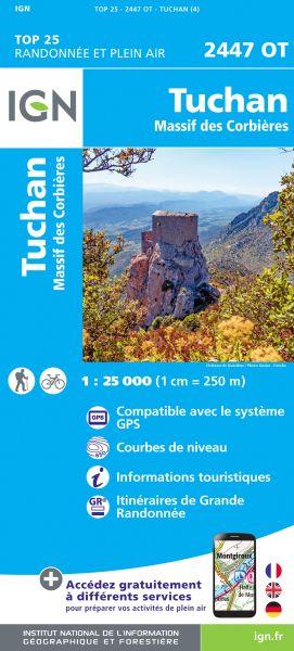 IGN 2447 OT Tuchan, Massif des Corbieres, Frankreich Wanderkarte 1:25.000