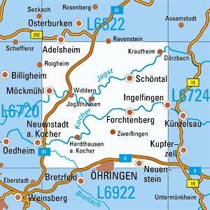 L6722 Öhringen topographische Karte 1:50.000 Baden-Württemberg, TK50
