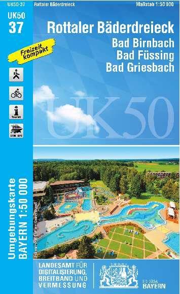 UK50-37 Rottaler Bäderdreieck Rad- und Wanderkarte 1:50.000 - Umgebungskarte Bayern