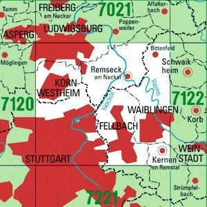 7121 STUTTGART-NORDOST topographische Karte 1:25.000 Baden-Württemberg, TK25