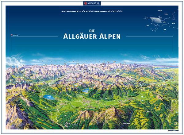 Kompass Panorama Allgäuer Alpen Poster