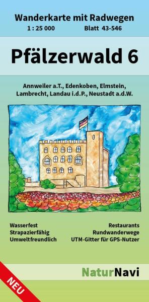 Pfälzerwald Ost Bl. 6 in 1:25.000 Wanderkarte mit Radwegen – NaturNavi Bl. 43-546
