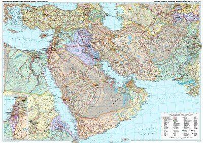 Landkarte Naher Osten Posterkarte 125 cm x 88 cm