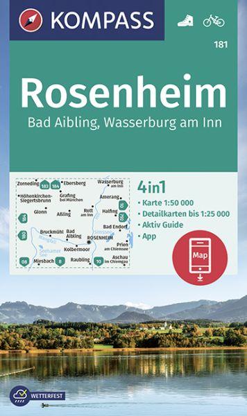 Kompass Karte 181, Rosenheim 1:50.000, Wandern, Rad fahren