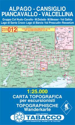 Tabacco 012 Alpago - Cansiglio - Piancavallo - Valcellina Wanderkarte 1:25.000