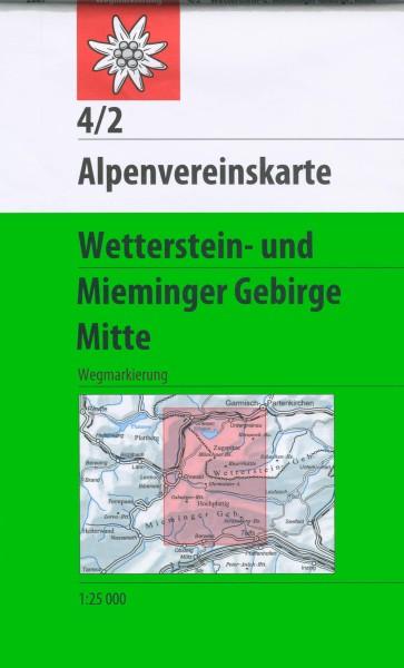 DAV Alpenvereinskarte 4/2 Wetterstein- und Mieminger Gebirge Mitte, Wanderkarte 1:25.000