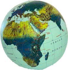 Aufblasbarer Globus 30cm Durchmesser, Satellitenbild