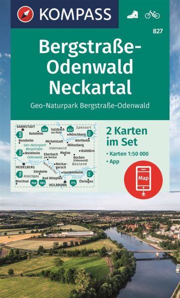 Kompass Karte 827, Bergstraße-Odenwald, Neckartal 1:50.000, Wandern, Rad fahren