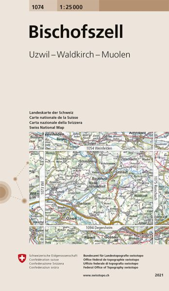 1074 Bischofszell topographische Wanderkarte Schweiz 1:25.000
