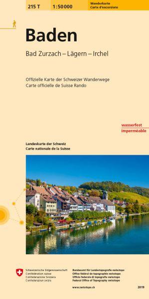 215 T Baden, topographische Wanderkarte Schweiz 1:50.000