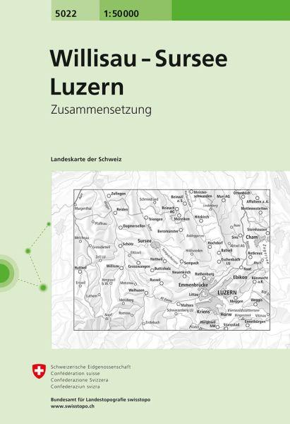 5022 Willisau - Sursee - Luzern topographische Wanderkarte Schweiz 1:50.000