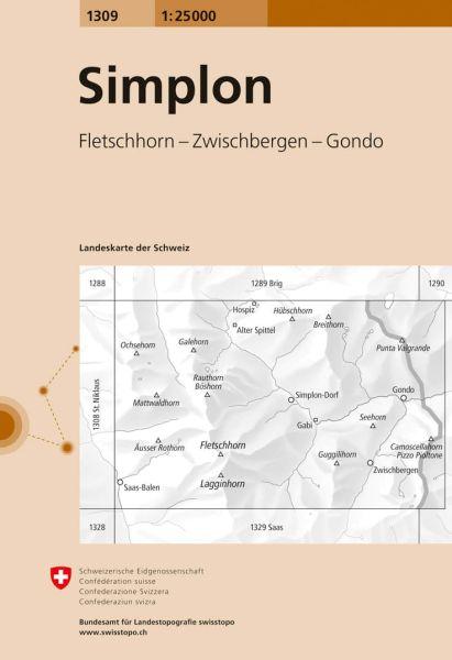 1309 Simplon topographische Karte Schweiz 1:25.000