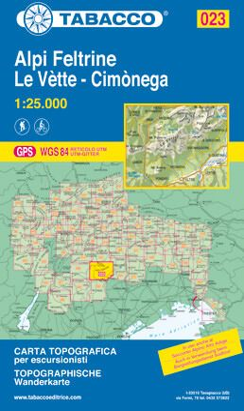 Tabacco 023 Alpi Feltrine - Le Vette - Cimonega Wanderkarte 1:25.000