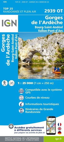 IGN 2939 OT Gorges de l'Ardeche, Frankreich Wanderkarte 1:25.000