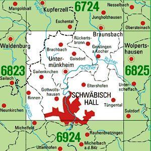 6824 SCHWÄBISCH HALL topographische Karte 1:25.000 Baden-Württemberg, TK25