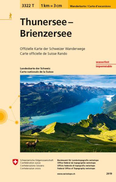 3322 T Thunersee - Brienzersee Wanderkarte 1:33.333 wetterfest - Swisstopo