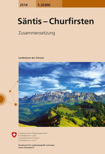 2514 Säntis - Churfirsten topographische Wanderkarte Schweiz 1:25.000