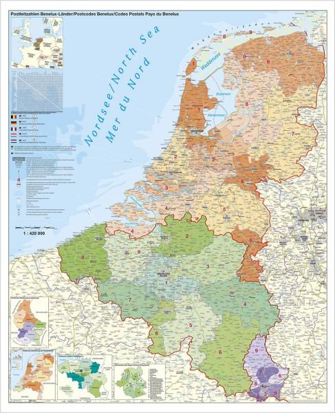 Belgien Niederlande Luxemburg Postleitzahlenkarte groß, Poster, Stiefel Verlag 97x119 cm