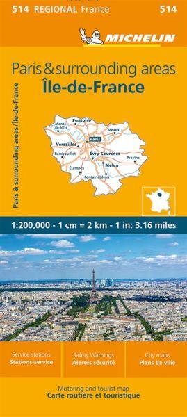 Michelin regional 514 Ile-de-France Straßenkarte 1:200.000
