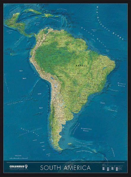 Columbus Kontinentkarte Süd-Amerika, physisch / politisch – 115 cm x 85 cm