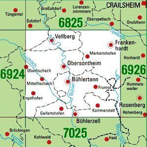 6925 OBERSONTHEIM topographische Karte 1:25.000 Baden-Württemberg, TK25