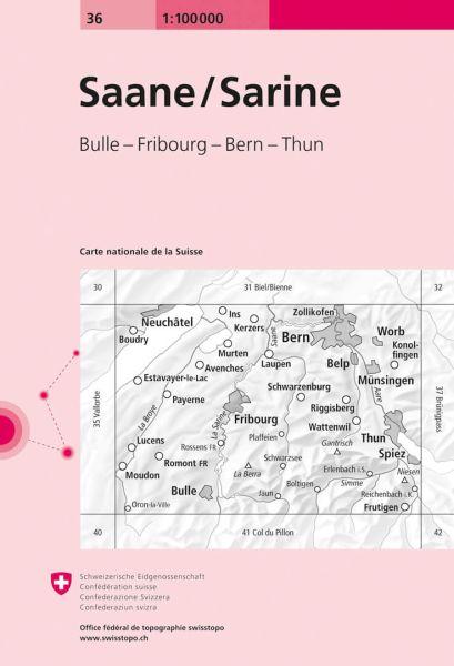 36 Saane / Sarine topographische Karte Schweiz 1:100.000