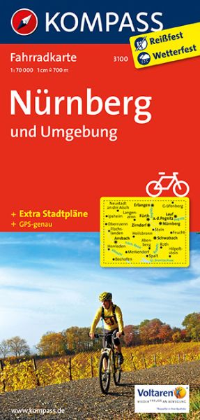 Kompass Fahrradkarte Blatt 3100, Nürnberg und Umgebung 1:70.000