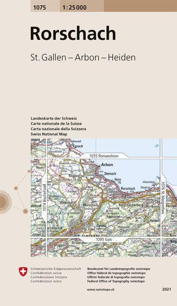 1075 Rorschach topographische Wanderkarte Schweiz 1:25.000