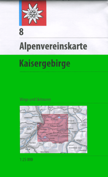 DAV Alpenvereinskarte 8 Kaisergebirge Ski- und Wanderkarte 1:25.000