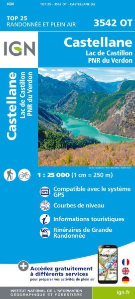 IGN 3542 OT Castellane, Lac de Castillon, Frankreich Wanderkarte 1:25.000