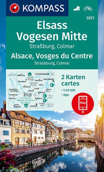 Kompass Karte 2221, Elsass, Vogesen Mitte 1:50.000, Wandern, Rad fahren