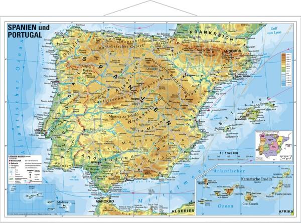 Physisches Spanien Und Portugal Poster Mit Metallleisten 95x65 Cm
