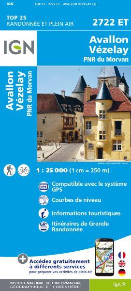 IGN 2722 ET Avallon, Vezelay, Frankreich Wanderkarte 1:25.000