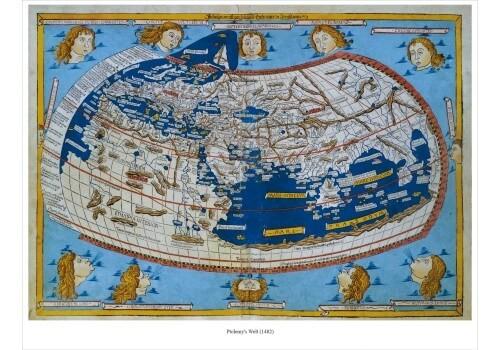 Weltkarte antik – Ptolemy's Welt von 1482 - Poster Nachdruck - 71 cm x 56 cm