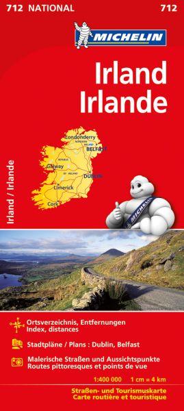 Michelin 712 Irland Straßenkarte mit Ortsverz & Stadtplänen: Dublin, Belfast