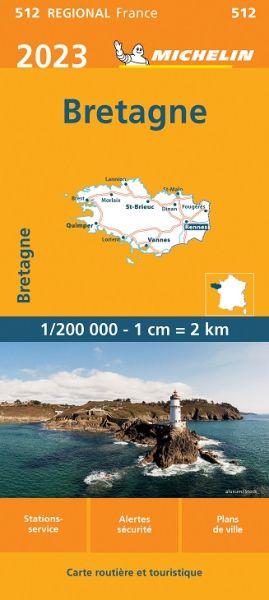 Michelin regional 512 Bretagne Straßenkarte 2020 1:200.000