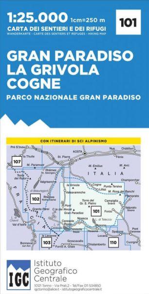 IGC 101 – Wanderkarte für Gran Paradiso - La Grivola - Cogne 1:25.000