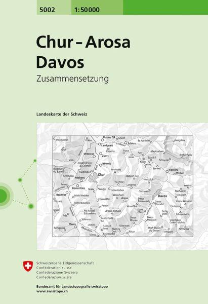5002 Chur - Arosa - Davos topographische Wanderkarte Schweiz 1:50.000