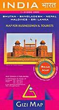 Indien, Bhutan, Bangladesh, Nepal Straßenkarte 1:3.000.000 Gizi Map